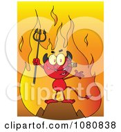 Clipart Little Devil Smoking A Cigar In Front Of Flames Royalty Free Vector Illustration