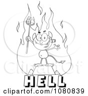 Clipart Outlined Little Devil Smoking A Cigar Over The Word HELL Royalty Free Vector Illustration