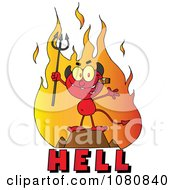 Clipart Little Devil Smoking A Cigar Over The Word HELL Royalty Free Vector Illustration