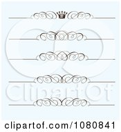 Clipart Set Of Ornate Swirl And Crown Rule Borders On Blue Royalty Free Vector Illustration