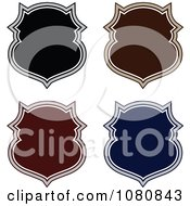 Clipart Black Brown Red And Blue Shield Frame Design Elements Royalty Free Vector Illustration by BestVector