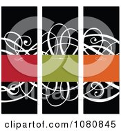 Clipart White Ornate Swirl And Colorful Copyspace Panels Royalty Free Vector Illustration
