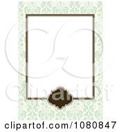 Clipart Brown Frame With A Green Damask Border And Copyspace Royalty Free Vector Illustration