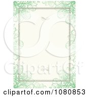 Green Floral Frame With Swirls And Copyspace