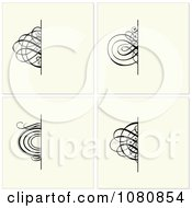 Clipart Set Of Beige Invitations With Half Ornamental Designs Royalty Free Vector Illustration