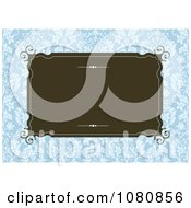 Clipart Brown Frame Over A Blue Damask Pattern Royalty Free Vector Illustration