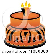 Clipart Round Two Tiered Tiger Print Fondant Cake With Birthday Candles Royalty Free Vector Illustration