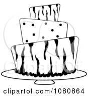 Clipart Round Black And White Three Tiered Funky Zebra Print And Polka Dot Fondant Cake Royalty Free Vector Illustration by Pams Clipart