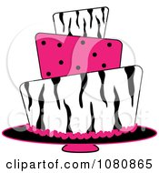 Clipart Round Three Tiered Funky Zebra Print And Pink Polka Dot Fondant Cake Royalty Free Vector Illustration