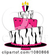 Clipart Round Three Tiered Funky Zebra Print And Pink Polka Dot Fondant Birthday Cake Royalty Free Vector Illustration by Pams Clipart