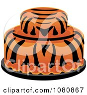 Clipart Round Two Tiered Tiger Striped Fondant Cake Royalty Free Vector Illustration