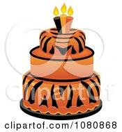 Clipart Round Three Tiered Tiger Print Fondant Cake With Birthday Candles Royalty Free Vector Illustration