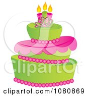 Clipart Three Tiered Green And Pink Fondant Cake With Birthday Candles Royalty Free Vector Illustration