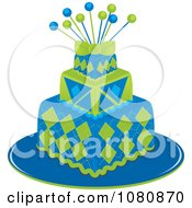Clipart Three Tiered Green And Blue Square Fondant Cake With Pins Royalty Free Vector Illustration