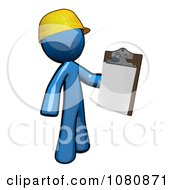 3d Blue Man Construction Worker Holding A Clipboard
