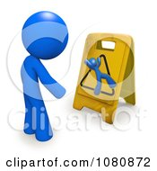 Clipart 3d Blue Man Looking At A Slippery Warning Floor Sign Royalty Free CGI Illustration