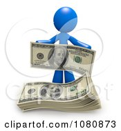 Clipart 3d Blue Man With A Stack Of Cash Royalty Free CGI Illustration