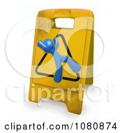 Clipart 3d Blue Man Slipping On A Warning Floor Sign Royalty Free CGI Illustration