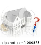Clipart 3d Blue Man With A Question Mark And House Royalty Free CGI Illustration