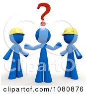 Clipart 3d Blue Man Trying To Decide Which Contractor To Use Royalty Free CGI Illustration