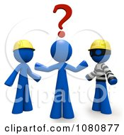 Clipart 3d Blue Man Trying To Decide Over A Thief Or Professional Contractor Royalty Free CGI Illustration