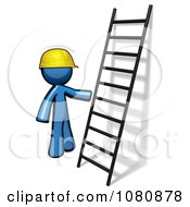 Clipart 3d Blue Man Construction Worker By A Ladder Royalty Free CGI Illustration by Leo Blanchette