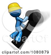 Clipart 3d Blue Man Construction Worker Felting A Roof Royalty Free CGI Illustration