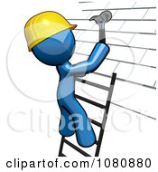 Clipart 3d Blue Man Roofer On A Ladder Hammering Tiles Royalty Free CGI Illustration