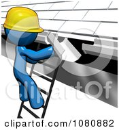 Clipart 3d Blue Man Construction Worker Replacing Gutters Royalty Free CGI Illustration