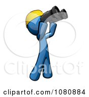 Clipart 3d Blue Man Construction Worker Viewing Through Binoculars Royalty Free CGI Illustration by Leo Blanchette