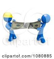 Clipart 3d Blue Men Contractor And Client Fighting Over Money And Ripping It Royalty Free CGI Illustration