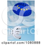 Clipart 3d European Flag Parachute With A Euro Symbol Royalty Free CGI Illustration