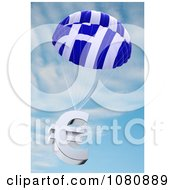 Clipart 3d Greek Flag Parachute With A Euro Symbol Royalty Free CGI Illustration