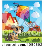 Clipart Dog Flying A Kite Royalty Free Vector Illustration