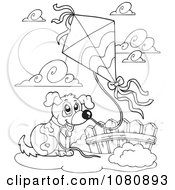 Clipart Outlined Dog Flying A Kite Royalty Free Vector Illustration