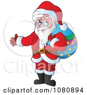 Clipart Santa Holding His Arm Out Royalty Free Vector Illustration