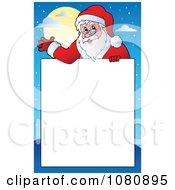Clipart Santa Waving Over Copyspace Royalty Free Vector Illustration