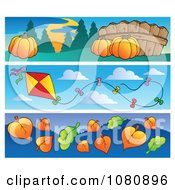 Clipart Set Of Pumpkin Kite And Autumn Leaf Website Banners Royalty Free Vector Illustration