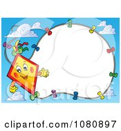 Clipart Happy Kite And String Frame In A Sky - Royalty Free Vector Illustration by visekart