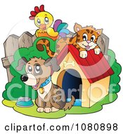 Clipart Parrot And Orange Cat By A Dog And House - Royalty Free Vector Illustration by visekart