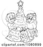 Clipart Outlined Dog And Kids Decorating A Christmas Tree Royalty Free Vector Illustration