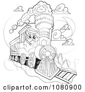 Clipart Outlined Santa Driving A Train Royalty Free Vector Illustration