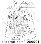 Clipart Outlined Santa Driving A Car Royalty Free Vector Illustration