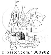 Clipart Outlined Dragon Guarding A Castle Royalty Free Vector Illustration
