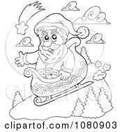 Clipart Outlined Santa Sledding Royalty Free Vector Illustration