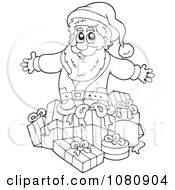 Clipart Outlined Santa With Gifts Royalty Free Vector Illustration