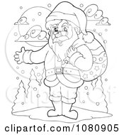Clipart Outlined Santa Holding His Arm Out Royalty Free Vector Illustration
