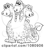 Clipart Outlined Three Headed Dragon Royalty Free Vector Illustration