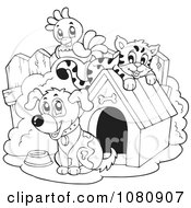 Clipart Outlined Parrot Cat And Dog By A Doggy House Royalty Free Vector Illustration
