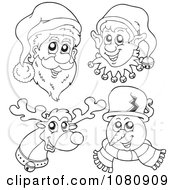 Clipart Outlined Santa Elf Reindeer And Snowman Faces Royalty Free Vector Illustration by visekart